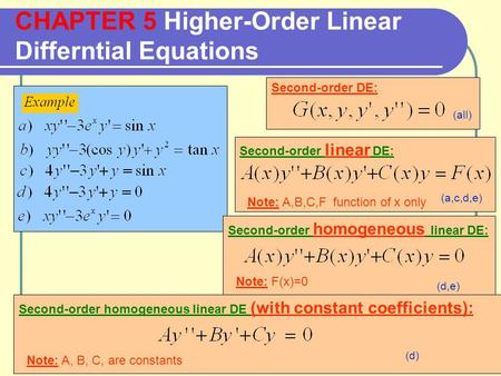 CHAPTER 5 Higher-Order Linear Differntial Equations Second-order DE: Second-order linear DE: Note: A,B,C,F function of x only Second-order homogeneous.