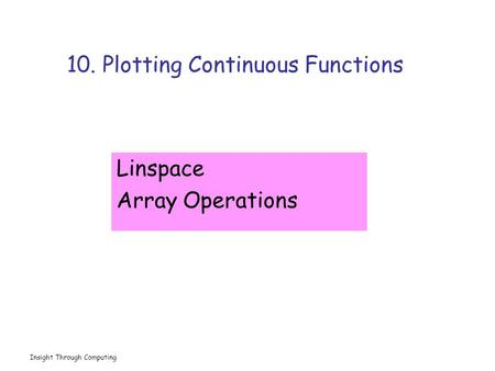 Insight Through Computing 10. Plotting Continuous Functions Linspace Array Operations.