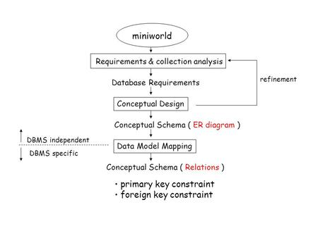 Miniworld Requirements & collection analysis Conceptual Design Data Model Mapping Database Requirements Conceptual Schema ( ER diagram ) DBMS independent.