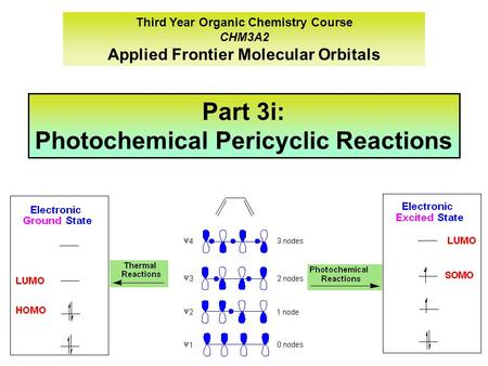 Third Year Organic Chemistry Course CHM3A2 Applied Frontier Molecular Orbitals Part 3i: Photochemical Pericyclic Reactions.