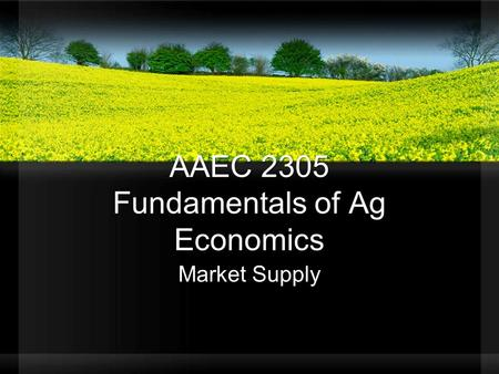 AAEC 2305 Fundamentals of Ag Economics Market Supply.