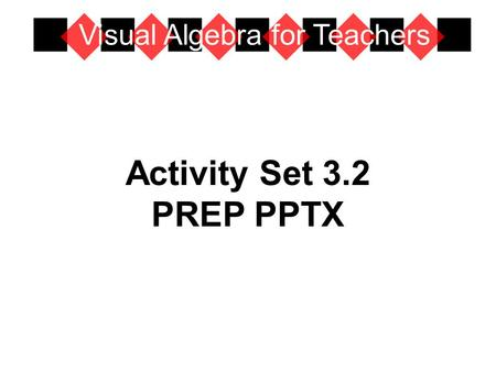 Activity Set 3.2 PREP PPTX Visual Algebra for Teachers.