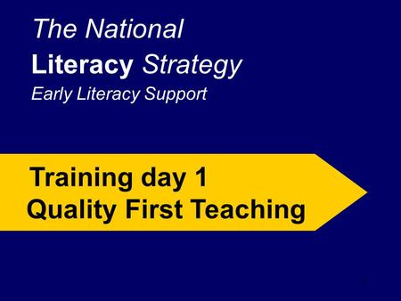 1 The National Literacy Strategy Early Literacy Support Training day 1 Quality First Teaching.