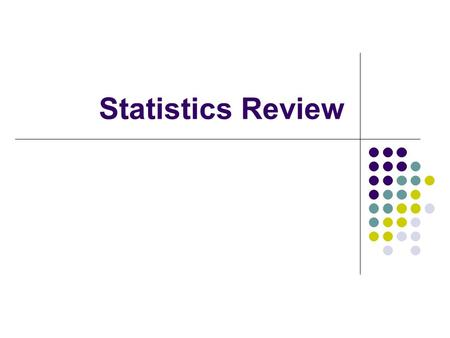 Statistics Review. Measurement Levels of Measurement One must know the nature of one's variables in order to understand what manipulations are appropriate.