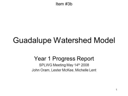 1 Guadalupe Watershed Model Year 1 Progress Report SPLWG Meeting May 14 th 2008 John Oram, Lester McKee, Michelle Lent Item #3b.