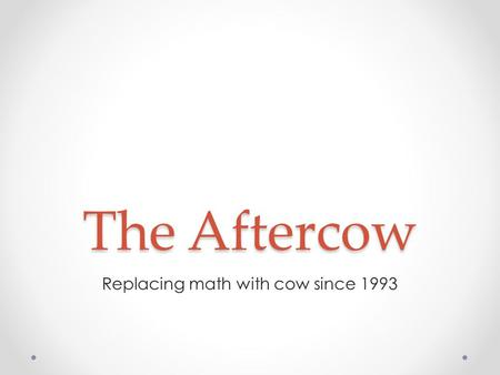 The Aftercow Replacing math with cow since 1993. PotW Solution PotW Solution (credits to Jimmy) class Edge implements Comparable { int toNode, dist; public.