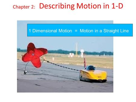Chapter 2: Describing Motion in 1-D 1 Dimensional Motion = Motion in a Straight Line.