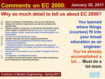 1 Comments on EC 2000: Why so much detail to tell us about EC 2000? Practices of Modern Engineering – Spring 2011 You learned where things (courses) fit.