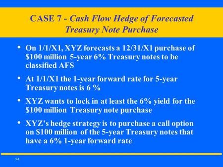 5-1 CASE 7 - Cash Flow Hedge of Forecasted Treasury Note Purchase On 1/1/X1, XYZ forecasts a 12/31/X1 purchase of $100 million 5-year 6% Treasury notes.
