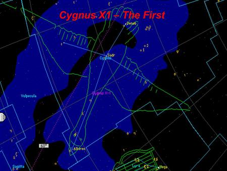 Cygnus X1 – The First. Cygnus X1 In the early Seventies scientists found an intensive X-Ray source in the Cygnus Constellation. They believe that this.