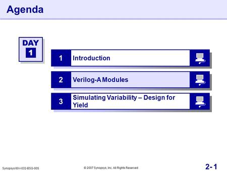 12- Agenda Introduction 1 Verilog-A Modules 2 DAY 1 Synopsys 60-I-032-BSG-005 © 2007 Synopsys, Inc. All Rights Reserved Simulating Variability – Design.