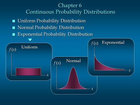 Chapter 6 Continuous Probability Distributions n Uniform Probability Distribution n Normal Probability Distribution n Exponential Probability Distribution.