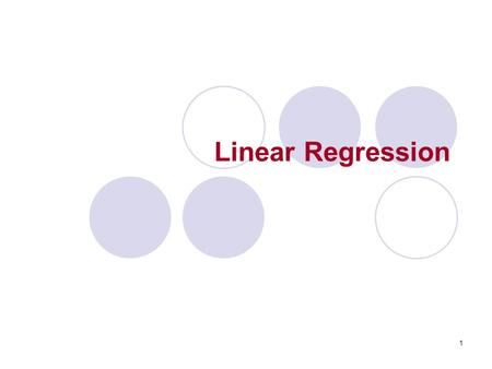 Linear Regression.