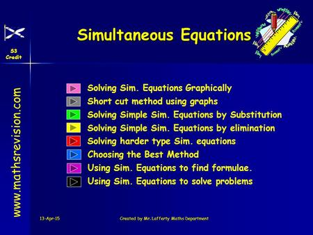 13-Apr-15Created by Mr. Lafferty Maths Department Solving Sim. Equations Graphically Solving Simple Sim. Equations by Substitution Simultaneous Equations.