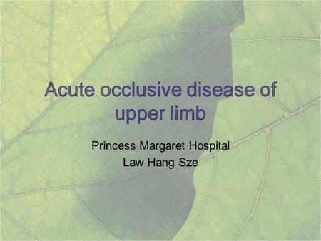 Princess Margaret Hospital Law Hang Sze. <5% all extremity ischaemia Small vessel disease involving palmar and digital arteries – majority <10% of upper-extremity.
