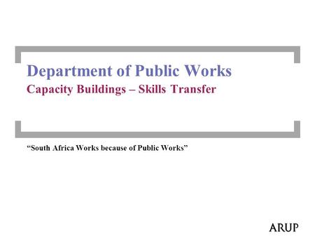 """South Africa Works because of Public Works"" Department of Public Works Capacity Buildings – Skills Transfer."