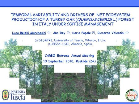 TEMPORAL VARIABILITY AND DRIVERS OF NET ECOSYSTEM PRODUCTION OF A TURKEY OAK (QUERCUS CERRIS L.) FOREST IN ITALY UNDER COPPICE MANAGEMENT Luca Belelli.