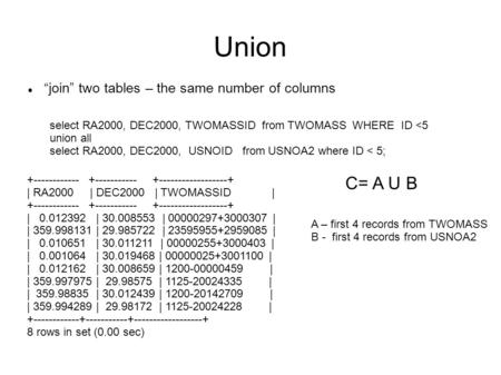 "Union ""join"" two tables – the same number of columns select RA2000, DEC2000, TWOMASSID from TWOMASS WHERE ID <5 union all select RA2000, DEC2000, USNOID."
