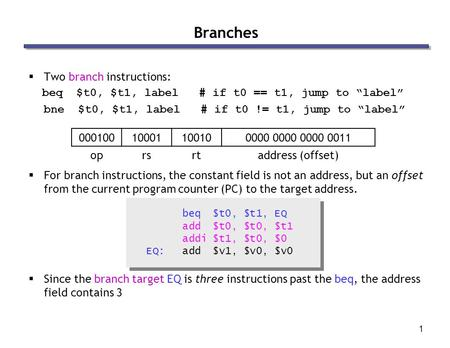 "1  Two branch instructions: beq $t0, $t1, label # if t0 == t1, jump to ""label"" bne $t0, $t1, label # if t0 != t1, jump to ""label""  For branch instructions,"