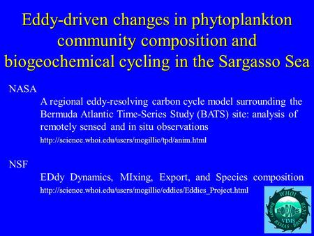 Eddy-driven changes in phytoplankton community composition and biogeochemical cycling in the Sargasso Sea NASA A regional eddy-resolving carbon cycle model.