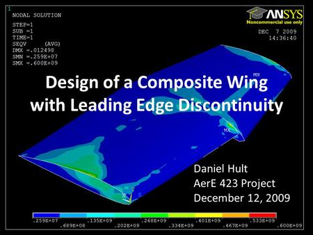 Design of a Composite Wing with Leading Edge Discontinuity Daniel Hult AerE 423 Project December 12, 2009.