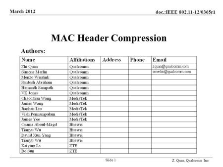 Doc.:IEEE 802.11-12/0365r1 March 2012 Z. Quan, Qualcomm Inc MAC Header Compression Slide 1 Authors: