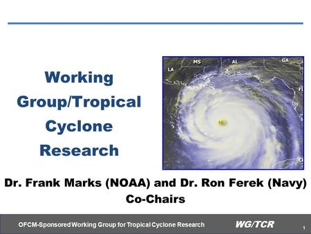 OFCM-Sponsored Working Group for Tropical Cyclone Research 1 WG/TCR Working Group/Tropical Cyclone Research Dr. Frank Marks (NOAA) and Dr. Ron Ferek (Navy)