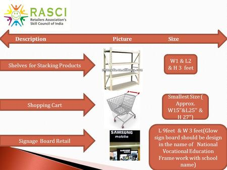 Shelves for Stacking Products W1 & L2 & H 3 feet Signage Board Retail Shopping Cart Description Picture Size Smallest Size ( Approx. W15''&L25'' & H 27'')