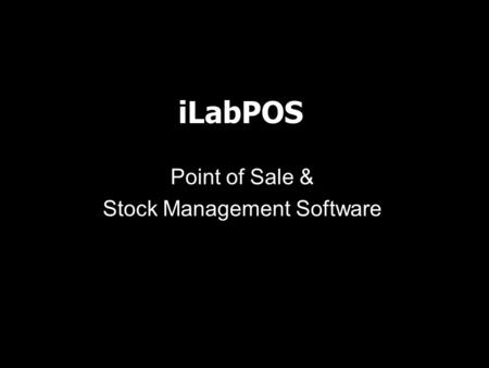 ILabPOS Point of Sale & Stock Management Software.