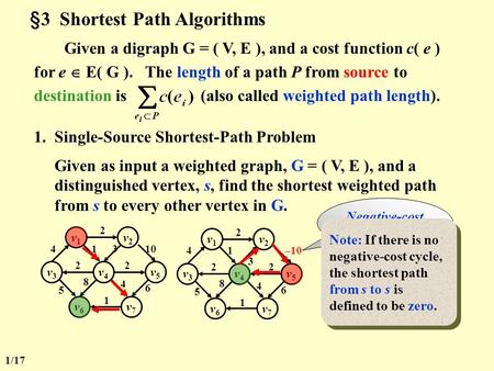 §3 Shortest Path Algorithms Given a digraph G = ( V, E ), and a cost function c( e ) for e  E( G ). The length of a path P from source to destination.