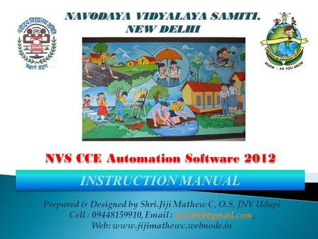 INSTRUCTION MANUAL NVS CCE Automation Software 2012