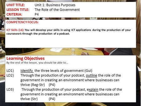 UNIT TITLE:Unit 1: Business Purposes LESSON TITLE:The Role of the Government CRITERIA: P4 COMPETENCY FOCUS: ICT Skills (L6): You will develop your skills.
