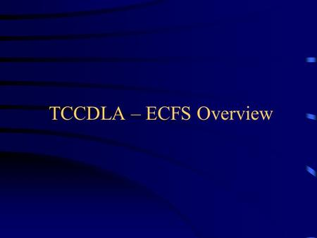 TCCDLA – ECFS Overview. Introduction Daniel A. FitzGerald President of Storm's Edge Technologies.