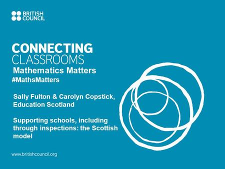 Mathematics Matters #MathsMatters Sally Fulton & Carolyn Copstick, Education Scotland Supporting schools, including through inspections: the Scottish model.