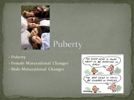 Puberty Female Maturational Changes Male Maturational Changes