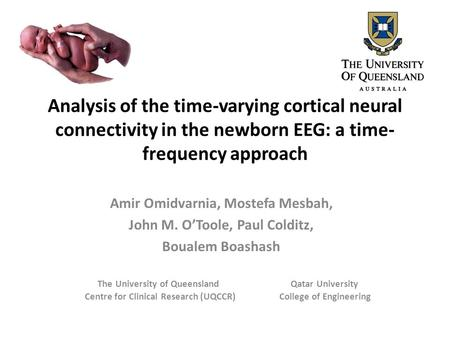 Analysis of the time-varying cortical neural connectivity in the newborn EEG: a time-frequency approach Amir Omidvarnia, Mostefa Mesbah, John M. O'Toole,