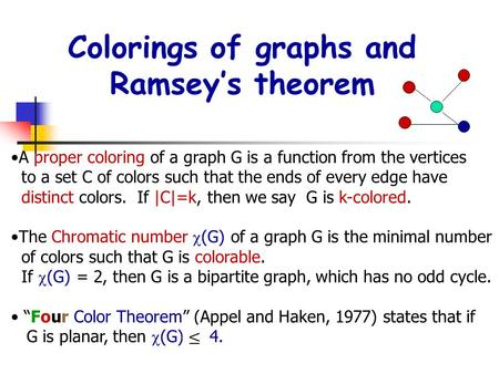 Colorings of graphs and Ramsey's theorem