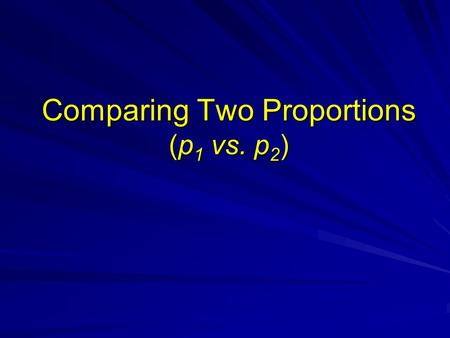 Comparing Two Proportions (p 1 vs. p 2 ). Inferential Methods Large independent samplesLarge independent samples 1. z-test for comparing p 1 vs. p 2 2.