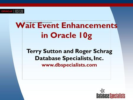 1 Wait Event Enhancements in Oracle 10g Terry Sutton and Roger Schrag Database Specialists, Inc. www.dbspecialists.com.