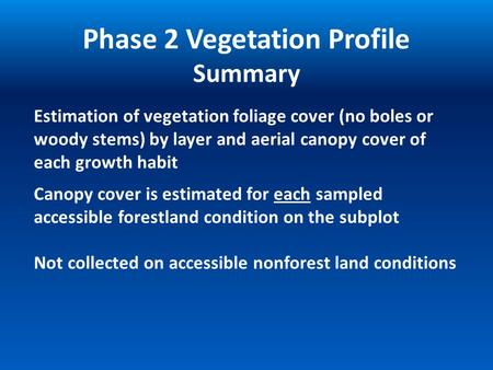 Estimation of vegetation foliage cover (no boles or woody stems) by layer and aerial canopy cover of each growth habit Phase 2 Vegetation Profile Summary.