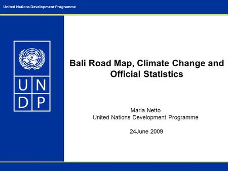 Bali Road Map, Climate Change and Official Statistics Maria Netto United Nations Development Programme 24June 2009.