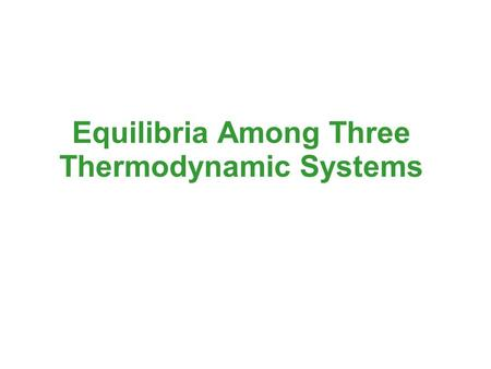 Equilibria Among Three Thermodynamic Systems. Mechanical Equilibrium Consider the apparatus shown below. The internal volumes formed by the pistons and.