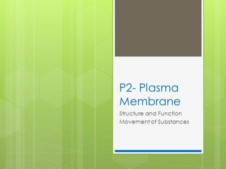 P2- Plasma Membrane Structure and Function Movement of Substances.