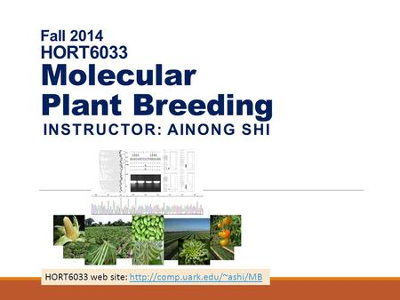 Fall 2014 HORT6033 Molecular Plant Breeding INSTRUCTOR: AINONG SHI HORT6033 web site: