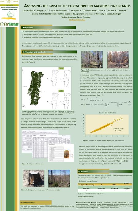 A SSESSING THE IMPACT OF FOREST FIRES IN MARITIME PINE STANDS Botequim, B 1., Borges, J. G. 1, Garcia-Gonzalo, J. 1, Marques S. 1, Oliveira, M.M. 2, Silva,