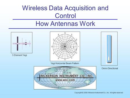 Wireless Data Acquisition and Control How Antennas Work Copyright © 2008 Wilkerson Instrument Co., Inc All rights reserved 3 Element Yagi Yagi Horizontal.