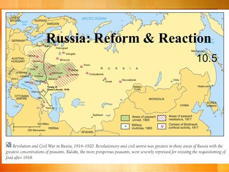 "Russia: Reform & Reaction 10.5. Conditions in Russia Russia-great world power – ""colossus"" (giant) – Despite size, economically & socially underdeveloped."