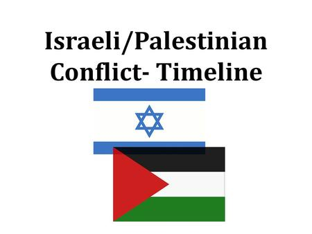 Israeli/Palestinian Conflict- Timeline. 1250 B.C. The Israelites (Jews or Hebrews) settle in Canaan (part of modern day Israel) after having fled slavery.