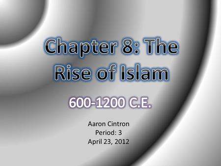 Aaron Cintron Period: 3 April 23, 2012. Introduction Knowledge of papermaking helped to establish an Islamic caliphate and provided a better medium to.