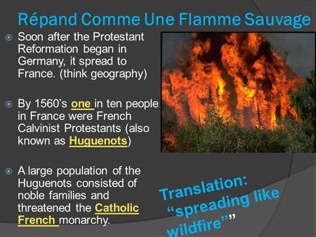 Répand Comme Une Flamme Sauvage  Soon after the Protestant Reformation began in Germany, it spread to France. (think geography)  By 1560's one in ten.